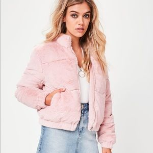 Missguided Pink Faux Fur Padded Jacket